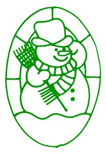 Glass Painting Snowman Design.