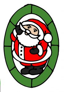 Glass Painting Father Christmas 2 design in colour.