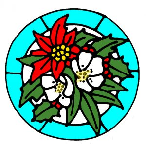 Glass Painting Poinsettia design in Colour.