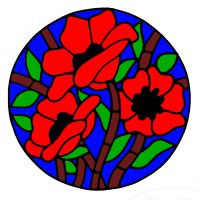 Modern Poppy Design. Coloured Version.