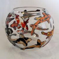 Glass Painted Fish Bowl. Buy Adhesive Glass Painting Film.