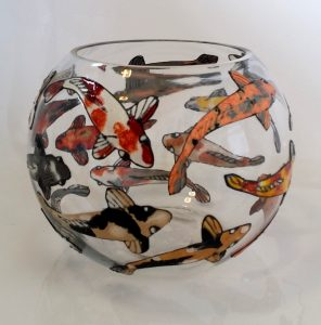 Glass Painted Fish Bowl.