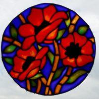 Pebeo Vitrial Glass Paint. Modern Poppy Design.