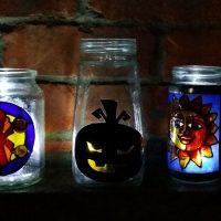 Glass Painted Jam Jar and Mason Jar Project.