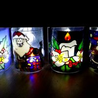 Christmas Glass Painting Project. Simple Lamp.
