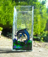 Glass Painted Dolphin Vase