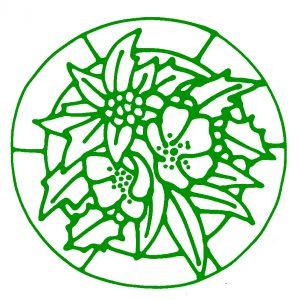 Glass Painting Poinsettia design.