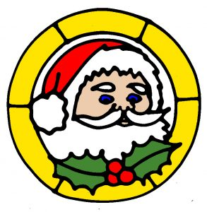 Glass Painting Father Christmas design in colour.