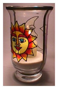 Glass Painted Lantern Project,Sun and Moon.