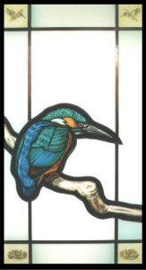 Arthur Vanson Kingfisher. glass painting.