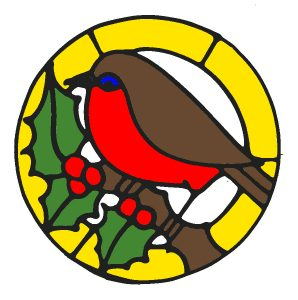 Glass Painting Robin Design in Colour.