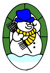 Glass Painting Snowman Design in Colour.