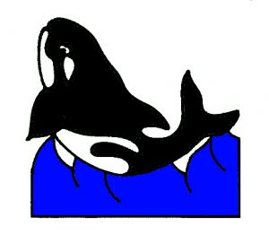Whale Tile Design in Colour.
