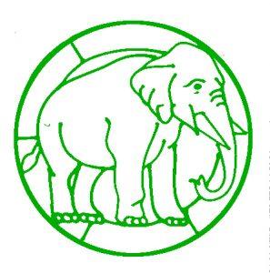 Elephant Glass Painting Design.