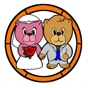 Wedding Bears in Colour.