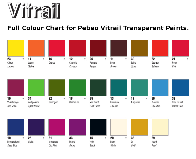 Pebeo Vitrail Glass Paint . Colour Chart.