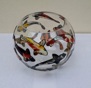 Glass Painted Koi Carp Bowl.