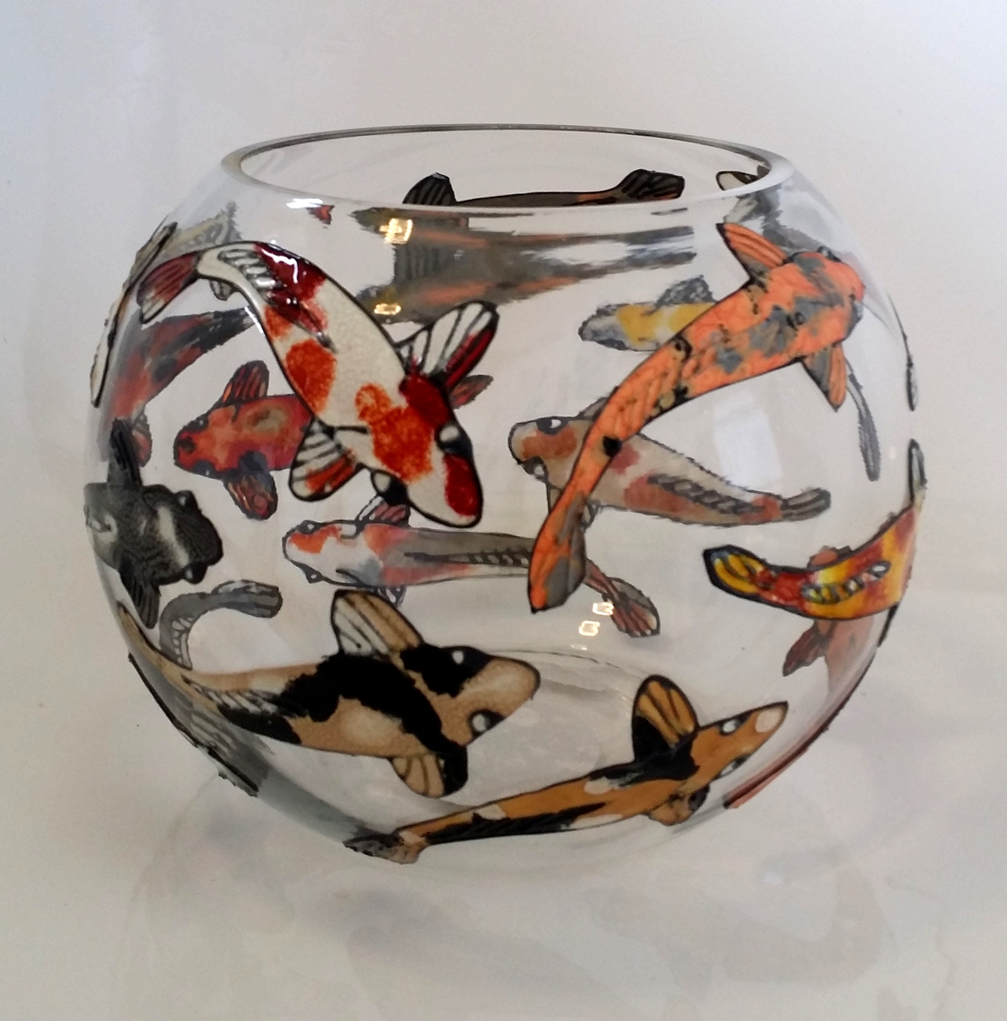 Glass Painted Fish Bowl Project. Step by Step.