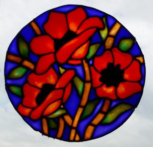 Pebeo Vitrail Glass Paint. Modern Poppy Design.
