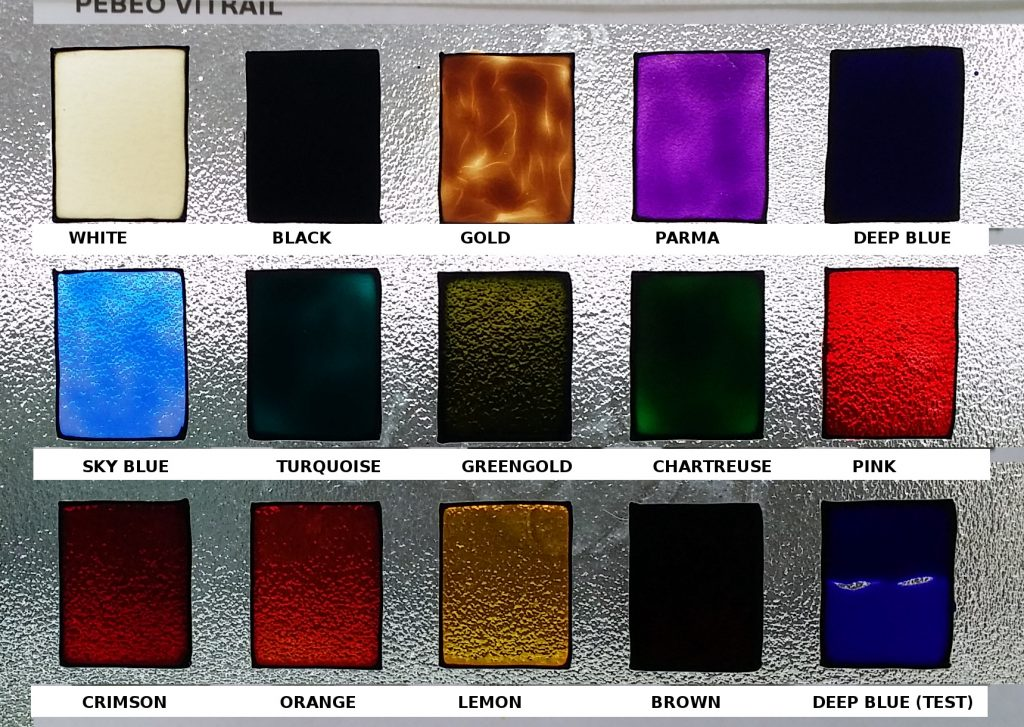 Pebeo Vitrial Glass Paint . Colour Chart.