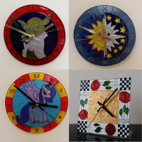 Glass Paintings Clocks and Doors.
