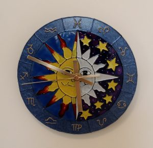 Astrological Clock with over piping (outlining).