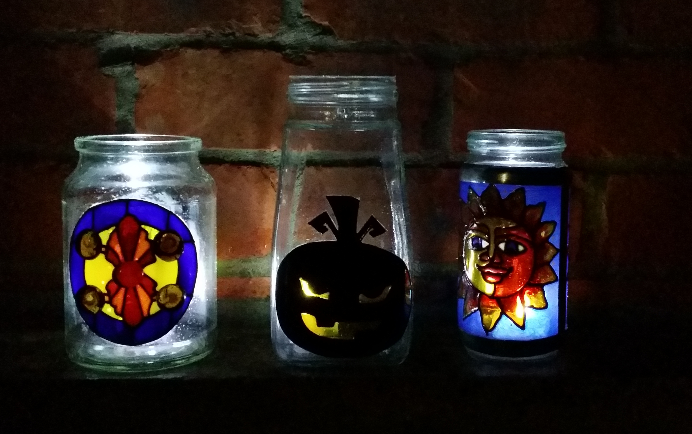 Glass Painted Jam Jar and Mason Jar Project.