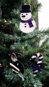 Glass Painted Christmas Tree Decorations.