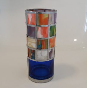 Mosiac Vase using homemade thick waterbased paints, window film and adhesive lead.
