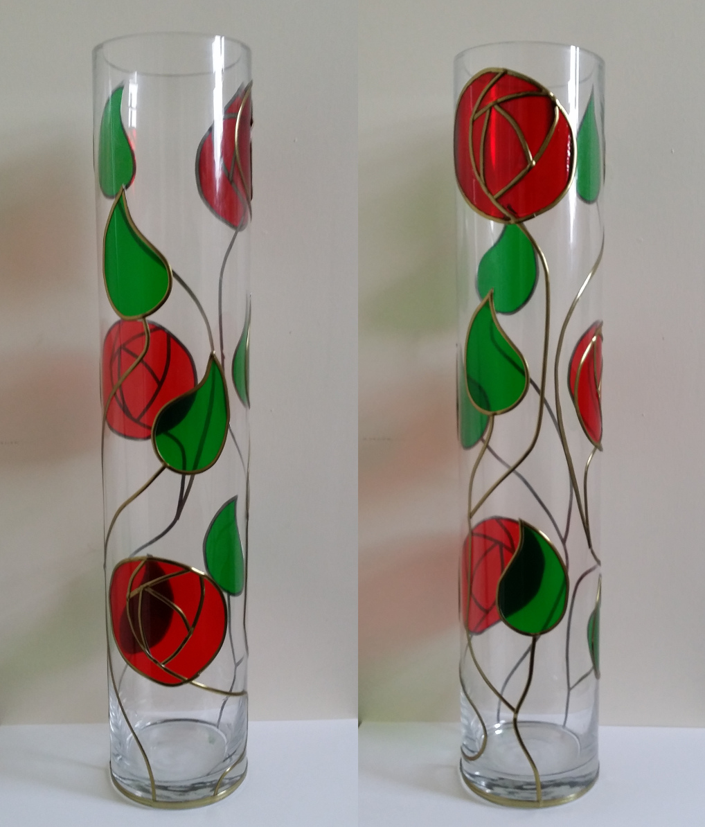 Glass Painted Mackintosh vase, Paint Review and Lesson.