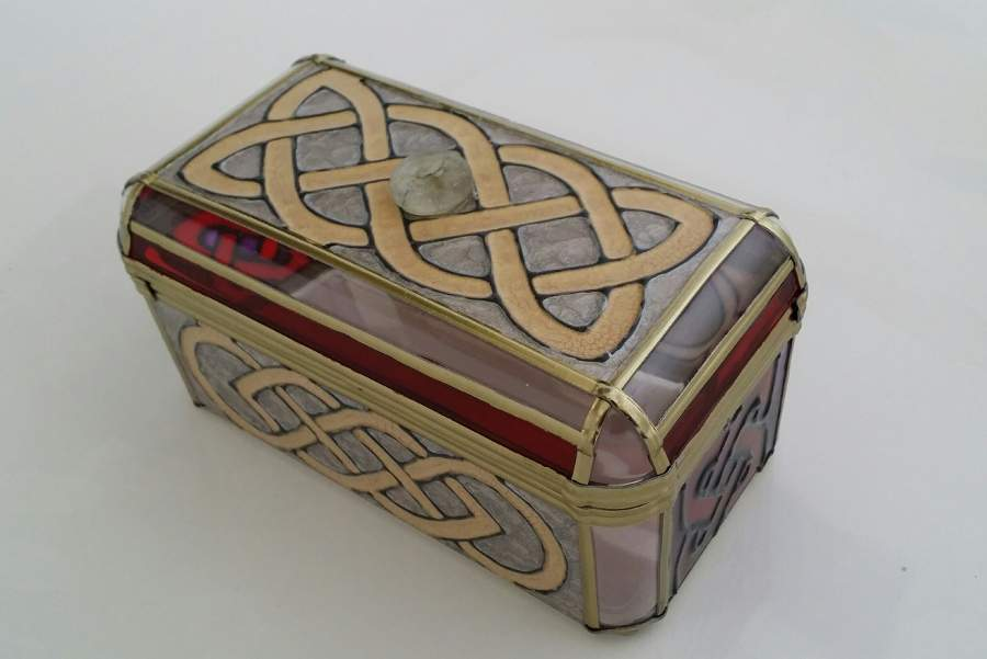 Glass Painted Celtic Box.