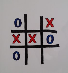 Noughts and Crosses on a Fridge.