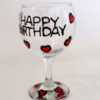 Glass Painting a wine glass.