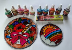 Fevicryl Glass Paints and Outliner.