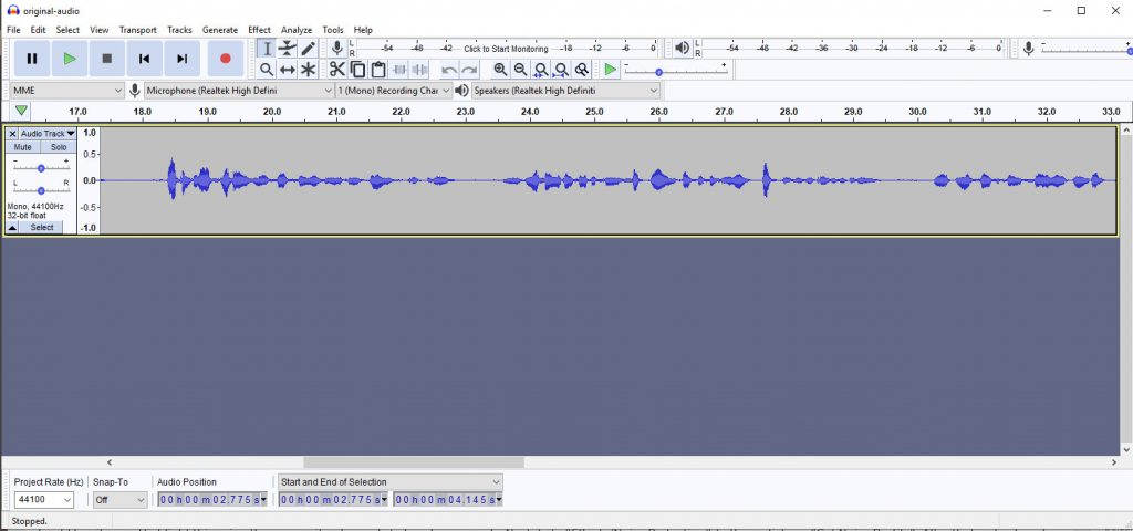 Audacity Sound Recorder and Editor.