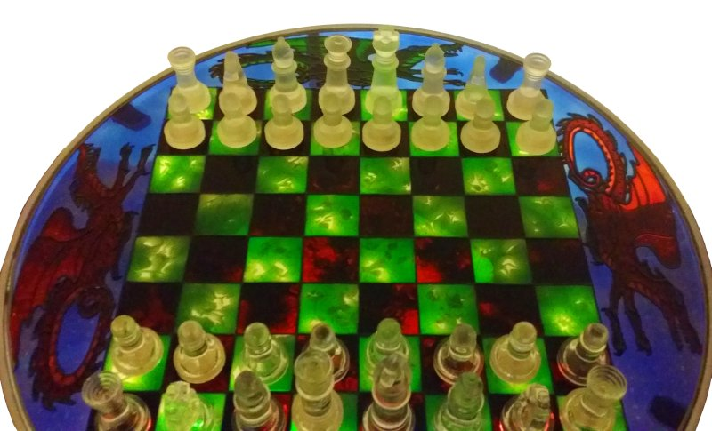 Glass Painted Table with Chess Board. Part 2.
