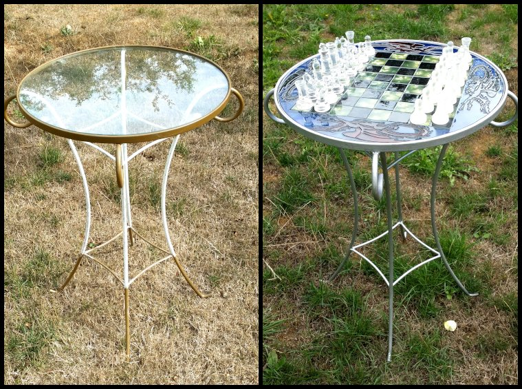 Glass Painted table before and after.
