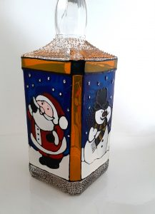 Glass Painted Christmas Bottle.