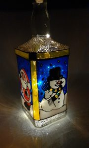 Glass Painted Christmas Bottle Decoration.