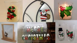 Making Christmas Decorations with Peelable Glass Paint.