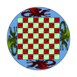 Glass Painted Chess Table.