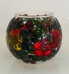 Glass Painted Round Vase.