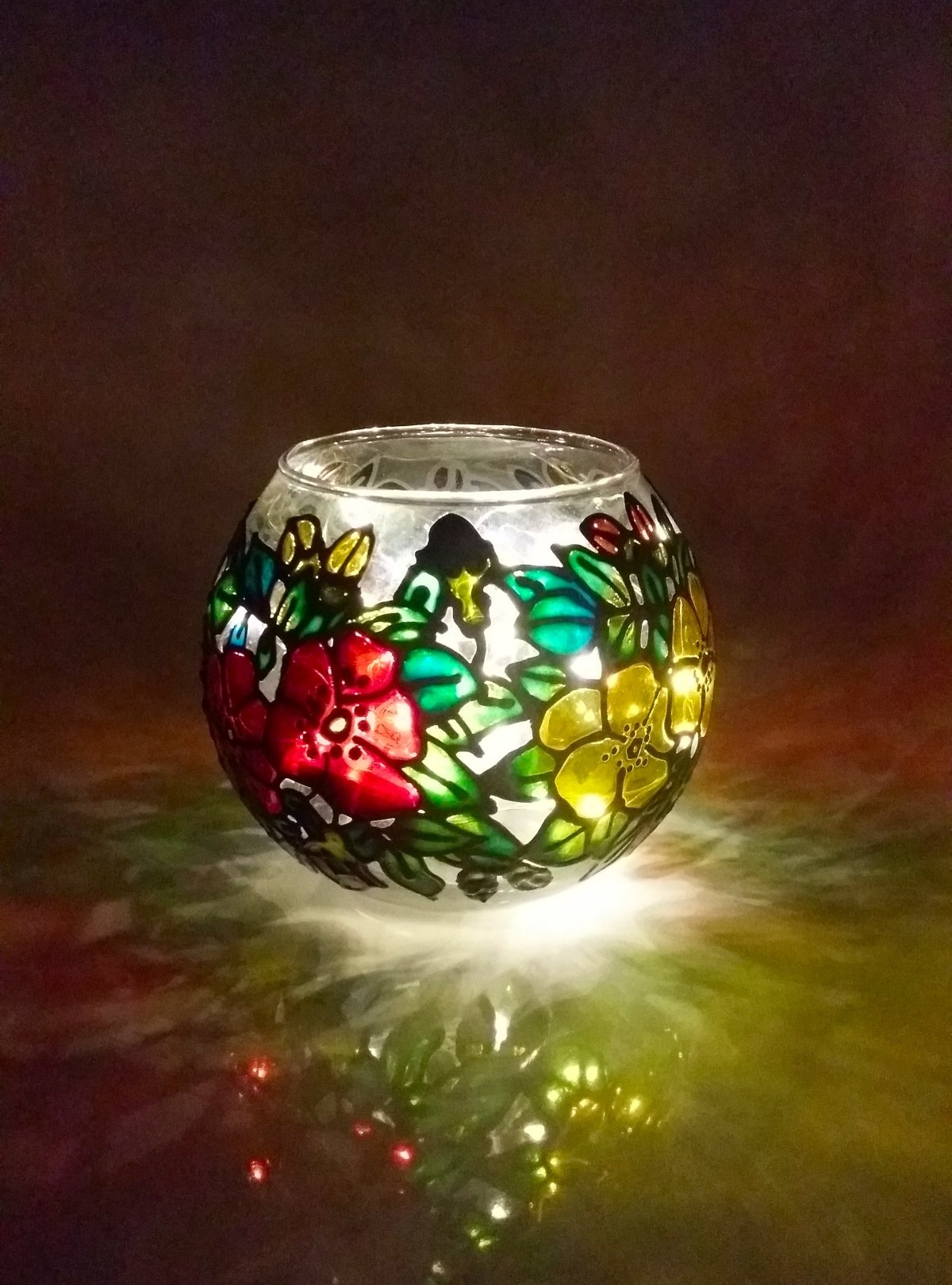 Finished Glass Painted Round Vase.